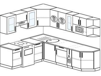 Планировка угловой кухни 6,8 м², 190 на 250 см: верхние модули 72 см, отдельно стоящая плита, корзина-бутылочница, модуль под свч