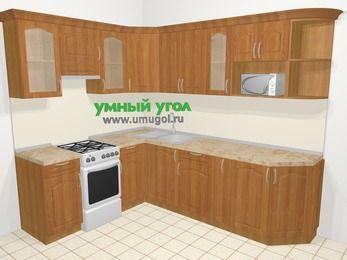 Угловая кухня МДФ матовый в классическом стиле 6,8 м², 190 на 250 см, Вишня, верхние модули 72 см, модуль под свч, отдельно стоящая плита
