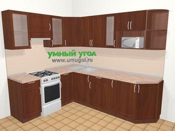 Угловая кухня МДФ матовый в классическом стиле 6,8 м², 190 на 250 см, Вишня темная, верхние модули 72 см, модуль под свч, отдельно стоящая плита