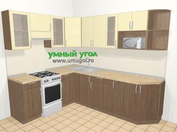 Угловая кухня МДФ матовый в современном стиле 6,8 м², 190 на 250 см, Ваниль / Лиственница бронзовая, верхние модули 72 см, модуль под свч, отдельно стоящая плита