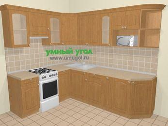 Угловая кухня МДФ матовый в стиле кантри 6,8 м², 190 на 250 см, Ольха, верхние модули 72 см, модуль под свч, отдельно стоящая плита