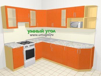 Угловая кухня МДФ металлик в современном стиле 6,8 м², 190 на 250 см, Оранжевый металлик, верхние модули 72 см, модуль под свч, отдельно стоящая плита