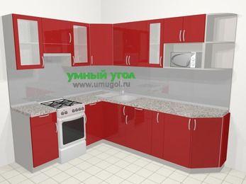 Угловая кухня МДФ глянец в современном стиле 6,8 м², 190 на 250 см, Красный, верхние модули 72 см, модуль под свч, отдельно стоящая плита