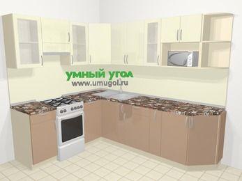 Угловая кухня МДФ глянец в современном стиле 6,8 м², 190 на 250 см, Жасмин / Капучино, верхние модули 72 см, модуль под свч, отдельно стоящая плита