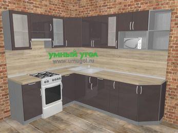 Угловая кухня МДФ глянец в стиле лофт 6,8 м², 190 на 250 см, Шоколад, верхние модули 72 см, модуль под свч, отдельно стоящая плита