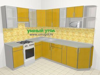 Кухни пластиковые угловые в современном стиле 6,8 м², 190 на 250 см, Желтый глянец, верхние модули 72 см, модуль под свч, отдельно стоящая плита