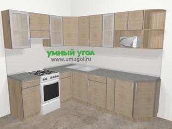 Кухни пластиковые угловые в стиле лофт 6,8 м², 190 на 250 см, Чибли бежевый, верхние модули 72 см, модуль под свч, отдельно стоящая плита