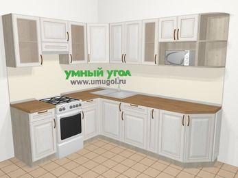 Угловая кухня МДФ патина в классическом стиле 6,8 м², 190 на 250 см, Лиственница белая, верхние модули 72 см, модуль под свч, отдельно стоящая плита