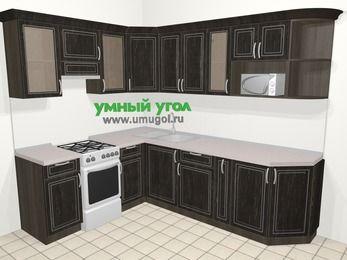 Угловая кухня МДФ патина в классическом стиле 6,8 м², 190 на 250 см, Венге, верхние модули 72 см, модуль под свч, отдельно стоящая плита