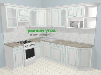 Угловая кухня МДФ патина в стиле прованс 6,8 м², 190 на 250 см, Лиственница белая, верхние модули 72 см, модуль под свч, отдельно стоящая плита