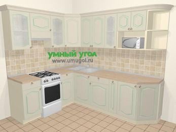 Угловая кухня МДФ патина в стиле прованс 6,8 м², 190 на 250 см, Керамик, верхние модули 72 см, модуль под свч, отдельно стоящая плита