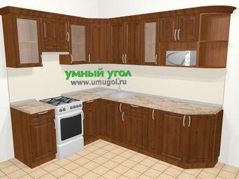Угловая кухня из массива дерева в классическом стиле 6,8 м², 190 на 250 см, Темно-коричневые оттенки, верхние модули 72 см, модуль под свч, отдельно стоящая плита