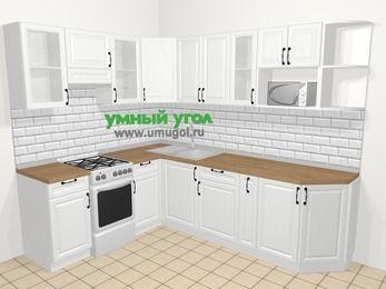 Угловая кухня из массива дерева в скандинавском стиле 6,8 м², 190 на 250 см, Белые оттенки, верхние модули 72 см, модуль под свч, отдельно стоящая плита