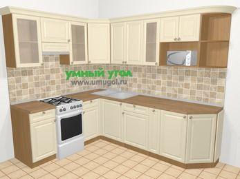 Угловая кухня из массива дерева в стиле кантри 6,8 м², 190 на 250 см, Бежевые оттенки, верхние модули 72 см, модуль под свч, отдельно стоящая плита