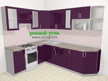 Угловая кухня МДФ глянец в современном стиле 6,8 м², 190 на 250 см, Баклажан, верхние модули 72 см, модуль под свч, отдельно стоящая плита