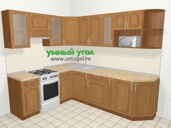 Угловая кухня МДФ патина в классическом стиле 6,8 м², 190 на 250 см, Ольха, верхние модули 72 см, модуль под свч, отдельно стоящая плита