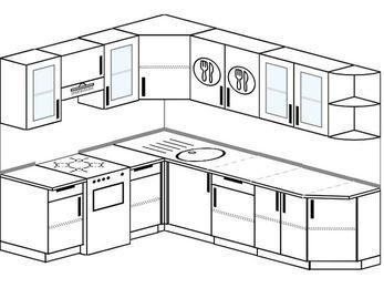 Угловая кухня 6,8 м² (1,9✕2,5 м), верхние модули 72 см, отдельно стоящая плита