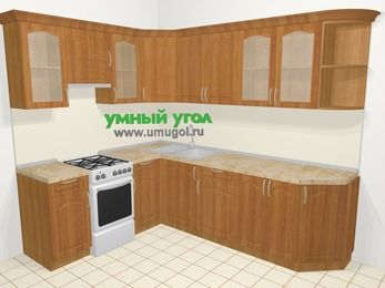 Угловая кухня МДФ матовый в классическом стиле 6,8 м², 190 на 250 см, Вишня, верхние модули 72 см, отдельно стоящая плита