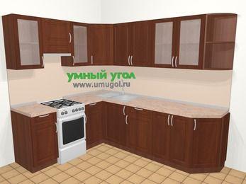 Угловая кухня МДФ матовый в классическом стиле 6,8 м², 190 на 250 см, Вишня темная, верхние модули 72 см, отдельно стоящая плита