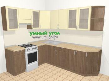 Угловая кухня МДФ матовый в современном стиле 6,8 м², 190 на 250 см, Ваниль / Лиственница бронзовая, верхние модули 72 см, отдельно стоящая плита