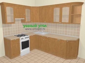 Угловая кухня МДФ матовый в стиле кантри 6,8 м², 190 на 250 см, Ольха, верхние модули 72 см, отдельно стоящая плита