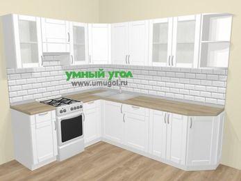 Угловая кухня МДФ матовый  в скандинавском стиле 6,8 м², 190 на 250 см, Белый, верхние модули 72 см, отдельно стоящая плита