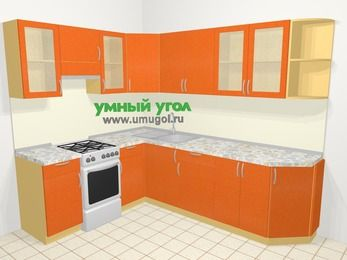 Угловая кухня МДФ металлик в современном стиле 6,8 м², 190 на 250 см, Оранжевый металлик, верхние модули 72 см, отдельно стоящая плита