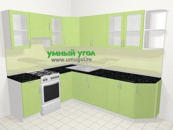 Угловая кухня МДФ металлик в современном стиле 6,8 м², 190 на 250 см, Салатовый металлик, верхние модули 72 см, отдельно стоящая плита