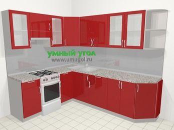Угловая кухня МДФ глянец в современном стиле 6,8 м², 190 на 250 см, Красный, верхние модули 72 см, отдельно стоящая плита
