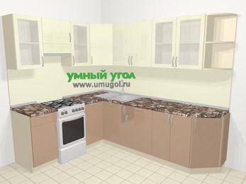 Угловая кухня МДФ глянец в современном стиле 6,8 м², 190 на 250 см, Жасмин / Капучино, верхние модули 72 см, отдельно стоящая плита