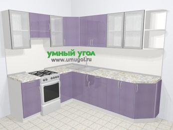 Кухни пластиковые угловые в современном стиле 6,8 м², 190 на 250 см, Сиреневый глянец, верхние модули 72 см, отдельно стоящая плита
