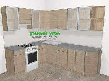 Кухни пластиковые угловые в стиле лофт 6,8 м², 190 на 250 см, Чибли бежевый, верхние модули 72 см, отдельно стоящая плита