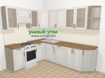 Угловая кухня МДФ патина в классическом стиле 6,8 м², 190 на 250 см, Лиственница белая, верхние модули 72 см, отдельно стоящая плита