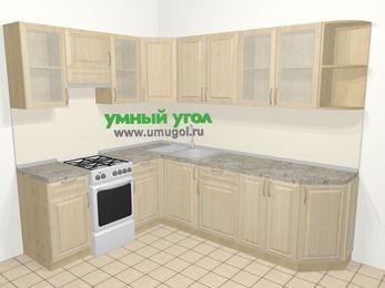 Угловая кухня из массива дерева в классическом стиле 6,8 м², 190 на 250 см, Светло-коричневые оттенки, верхние модули 72 см, отдельно стоящая плита