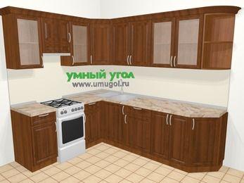 Угловая кухня из массива дерева в классическом стиле 6,8 м², 190 на 250 см, Темно-коричневые оттенки, верхние модули 72 см, отдельно стоящая плита