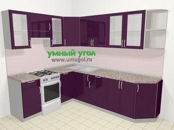 Угловая кухня МДФ глянец в современном стиле 6,8 м², 190 на 250 см, Баклажан, верхние модули 72 см, отдельно стоящая плита
