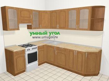 Угловая кухня МДФ патина в классическом стиле 6,8 м², 190 на 250 см, Ольха, верхние модули 72 см, отдельно стоящая плита