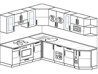 Угловая кухня 6,8 м² (1,9✕2,5 м), верхние модули 72 см, посудомоечная машина, модуль под свч, встроенный духовой шкаф