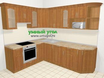 Угловая кухня МДФ матовый в классическом стиле 6,8 м², 190 на 250 см, Вишня, верхние модули 72 см, посудомоечная машина, модуль под свч, встроенный духовой шкаф