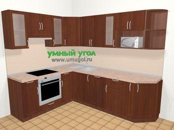 Угловая кухня МДФ матовый в классическом стиле 6,8 м², 190 на 250 см, Вишня темная, верхние модули 72 см, посудомоечная машина, модуль под свч, встроенный духовой шкаф