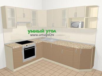 Угловая кухня МДФ матовый в современном стиле 6,8 м², 190 на 250 см, Керамик / Кофе, верхние модули 72 см, посудомоечная машина, модуль под свч, встроенный духовой шкаф