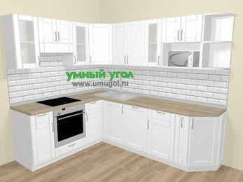 Угловая кухня МДФ матовый  в скандинавском стиле 6,8 м², 190 на 250 см, Белый, верхние модули 72 см, посудомоечная машина, модуль под свч, встроенный духовой шкаф