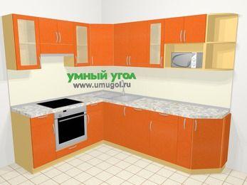Угловая кухня МДФ металлик в современном стиле 6,8 м², 190 на 250 см, Оранжевый металлик, верхние модули 72 см, посудомоечная машина, модуль под свч, встроенный духовой шкаф