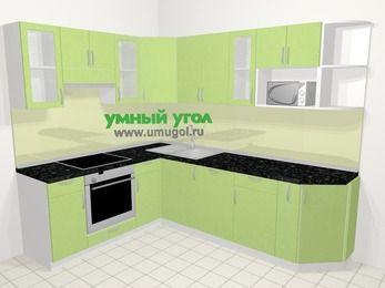Угловая кухня МДФ металлик в современном стиле 6,8 м², 190 на 250 см, Салатовый металлик, верхние модули 72 см, посудомоечная машина, модуль под свч, встроенный духовой шкаф