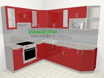 Угловая кухня МДФ глянец в современном стиле 6,8 м², 190 на 250 см, Красный, верхние модули 72 см, посудомоечная машина, модуль под свч, встроенный духовой шкаф