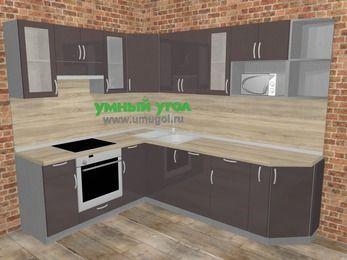 Угловая кухня МДФ глянец в стиле лофт 6,8 м², 190 на 250 см, Шоколад, верхние модули 72 см, посудомоечная машина, модуль под свч, встроенный духовой шкаф