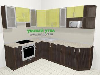 Кухни пластиковые угловые в современном стиле 6,8 м², 190 на 250 см, Желтый Галлион глянец / Дерево Мокка, верхние модули 72 см, посудомоечная машина, модуль под свч, встроенный духовой шкаф