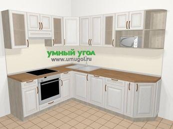 Угловая кухня МДФ патина в классическом стиле 6,8 м², 190 на 250 см, Лиственница белая, верхние модули 72 см, посудомоечная машина, модуль под свч, встроенный духовой шкаф