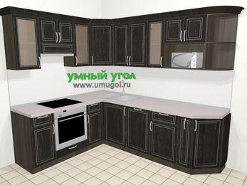 Угловая кухня МДФ патина в классическом стиле 6,8 м², 190 на 250 см, Венге, верхние модули 72 см, посудомоечная машина, модуль под свч, встроенный духовой шкаф