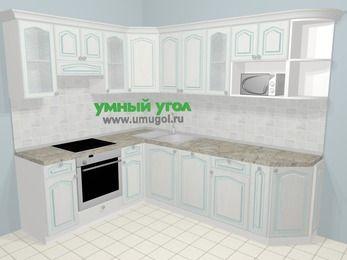 Угловая кухня МДФ патина в стиле прованс 6,8 м², 190 на 250 см, Лиственница белая, верхние модули 72 см, посудомоечная машина, модуль под свч, встроенный духовой шкаф